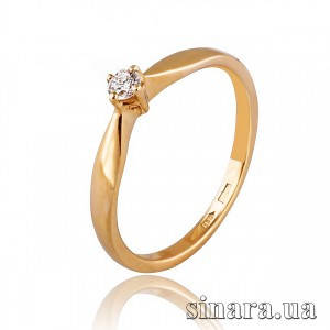 Кольцо солитер из красного золота с бриллиантом 30786