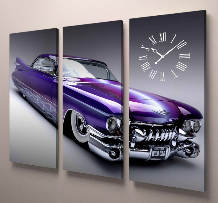 Картина модульная часы с автомобилем 90х60