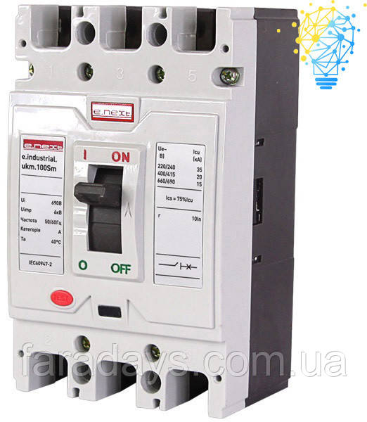 Шафовий автоматичний вимикач 3р, 63А (e.industrial.ukm.100Sm.63)