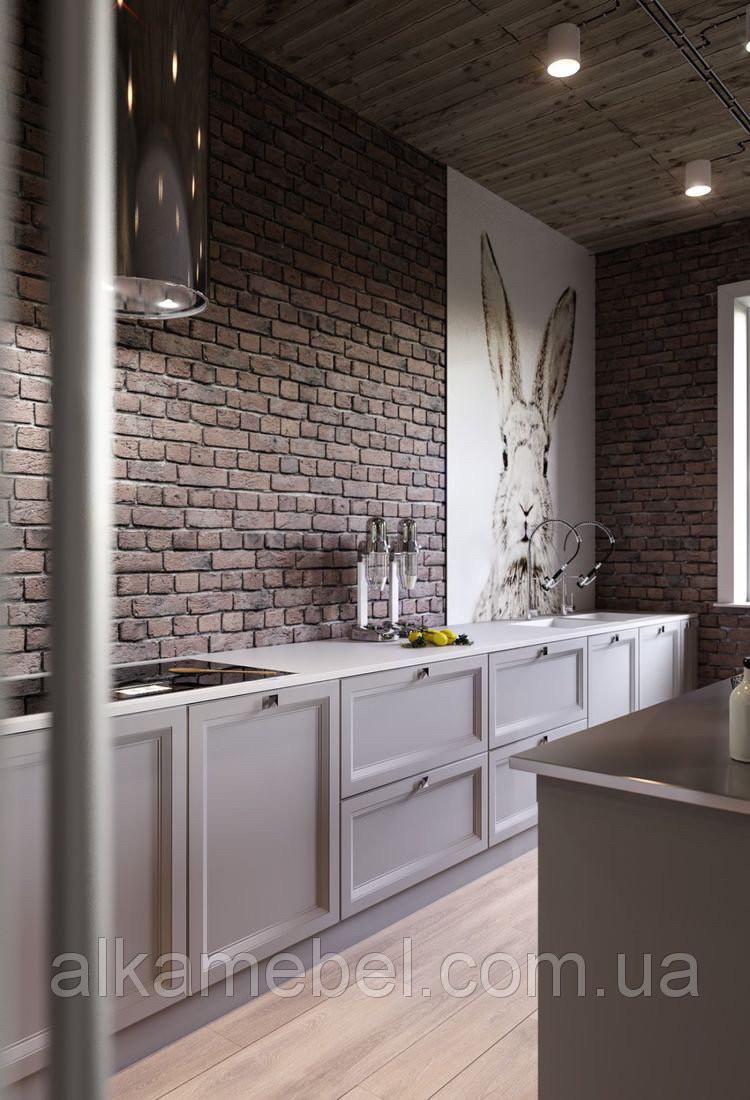 Кухня на заказ серая матовая в Лофт стиле. фасады с фрезеровкой