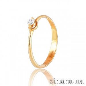 Кольцо солитер из красного золота с бриллиантом 27259