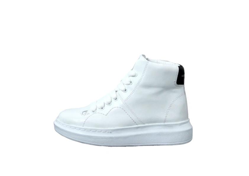 a88d893fc Женские кроссовки Alexander McQueen Hi (в стиле Александр Маккуин) белые, натуральная  кожа