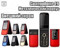 Кнопочный мобильный Телефон-раскладушка (жабка) Guangphone E9 красивый телефон в металлическом корпусе 3800mah, фото 1