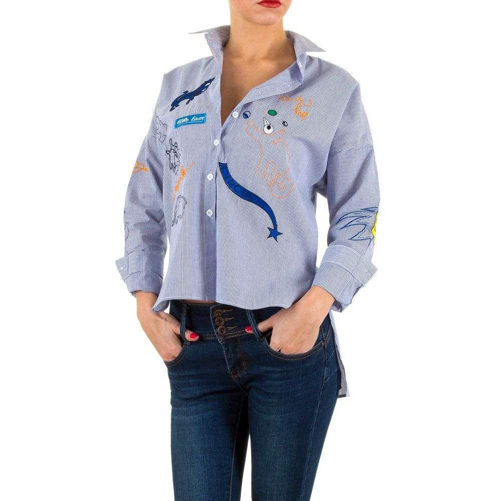 Женская рубашка в полоску с патчами (Европа) Синий