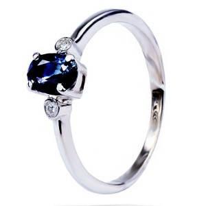 Кольцо с бриллиантом и сапфиром из белого золота 27283