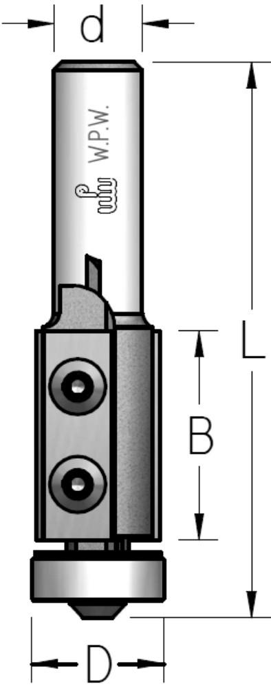 Фреза обгонная WPW, сменные ножи, нижний подшипник D19 B30 d12