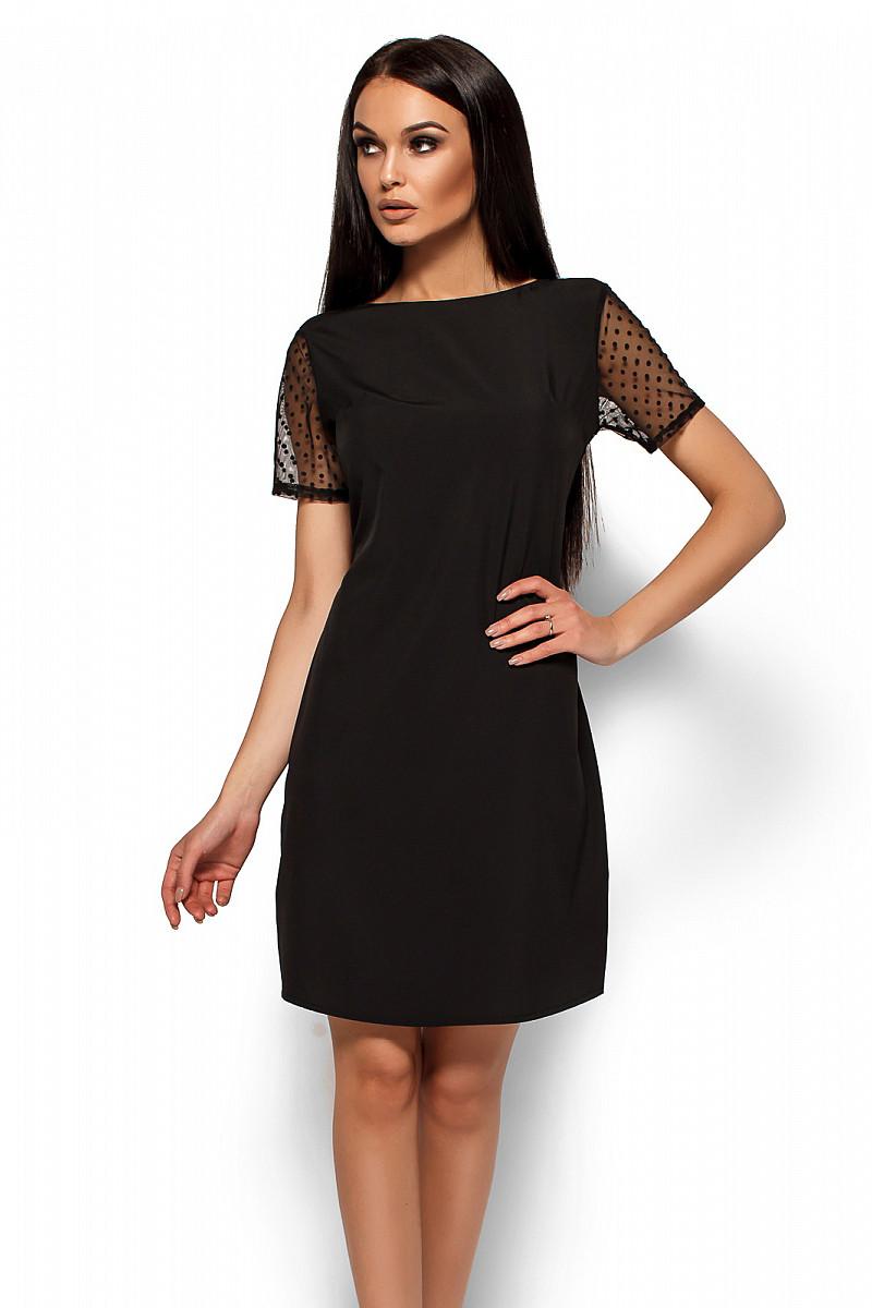 S, M, L / Легкое коктейльное платье с сеточкой Shanhai, черный