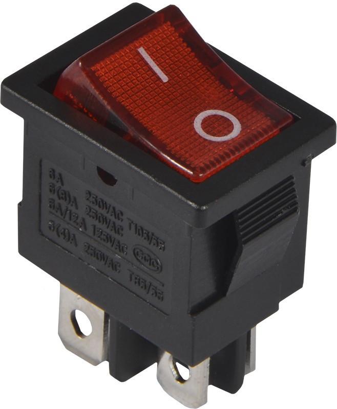 KCD1-4-201N  R/B 220V Переключатель 1 клавишный  красный с подсветкой TNSy (TNSy5500698)