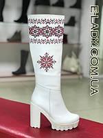 Сапоги женскиеиз натуральной кожи белые с вышивкой