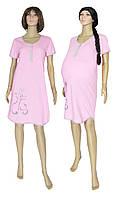 Ночная рубашка для беременных и кормящих 1202-1 Котята коттон / розовая