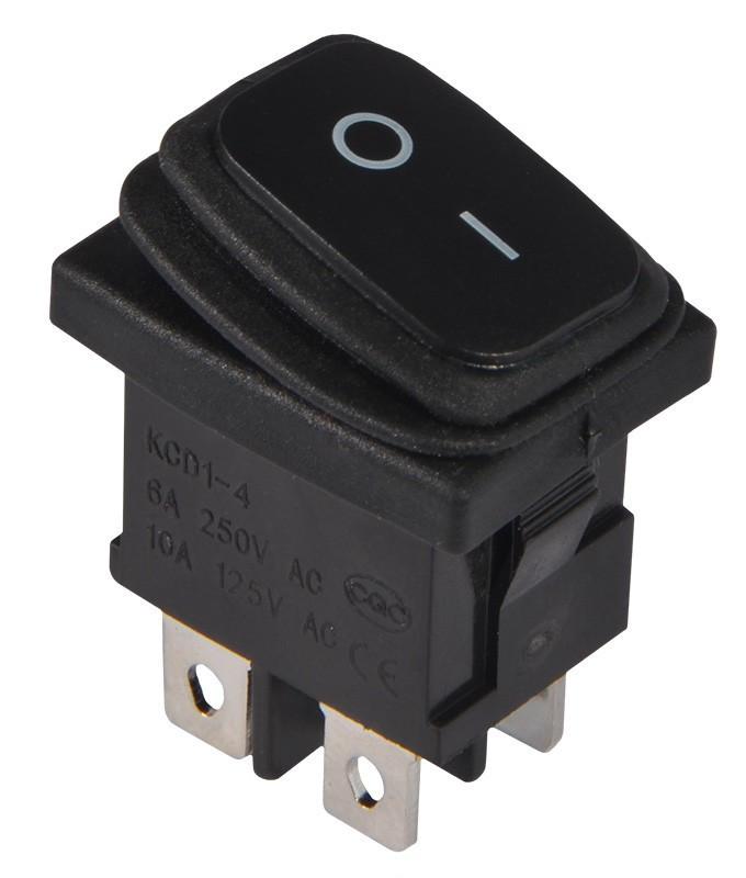KCD1-4-201W  B/B  Переключатель 1 клавишный черный влагозащищенный TNSy (TNSy5500702)
