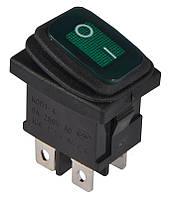 KCD1-4-201WN G/B 220V   Переключатель 1 клавишный влагозащищенный зеленый с подсветкой