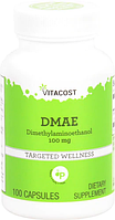 Диметиламиноэтанол, Vitacost, DMAE, 100 мг, 100 капсул