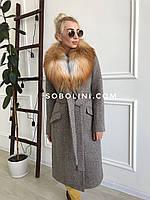 Пальто из шерсти в клетку с мехом Yvonne
