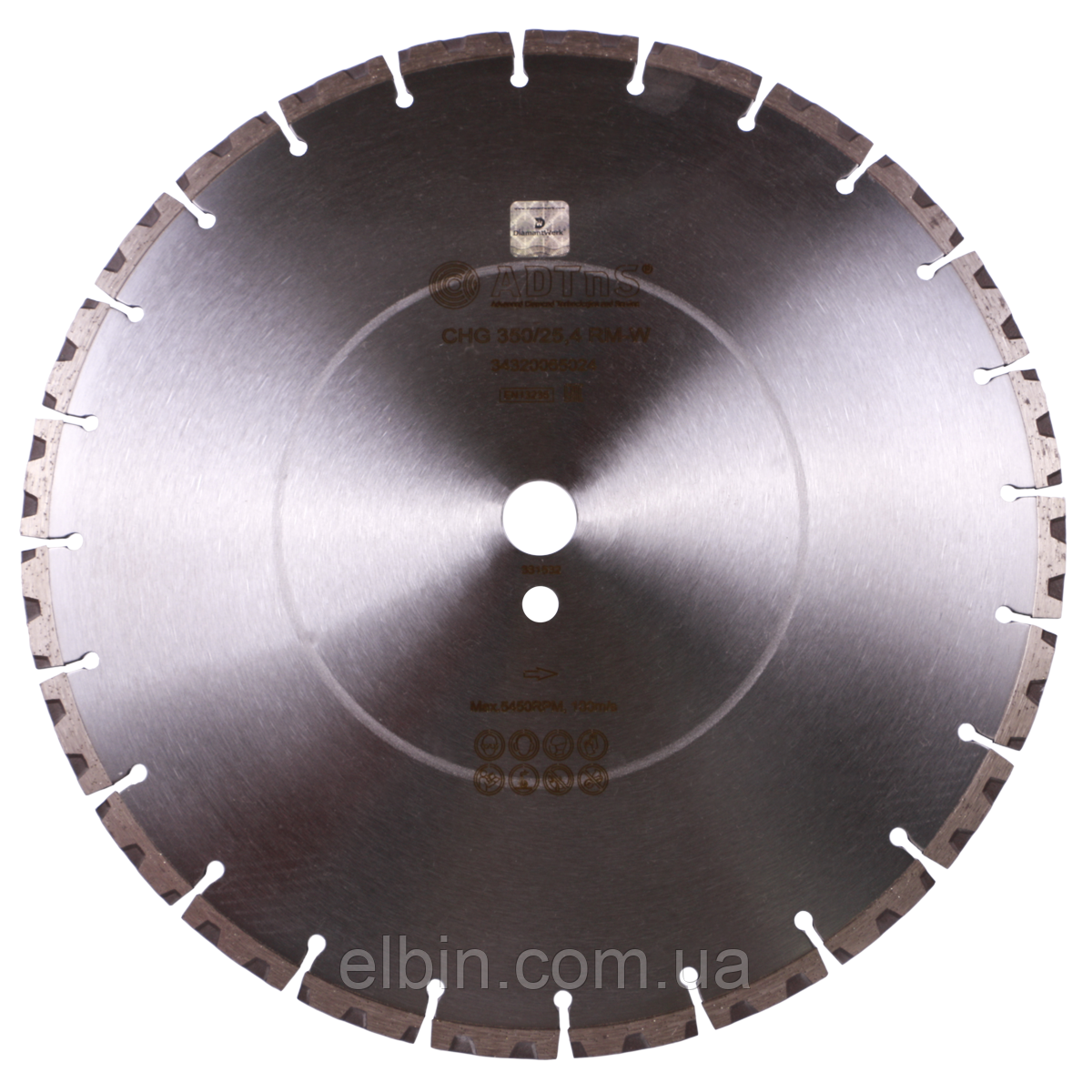 Круг алмазный отрезной ADTnS 1A1RSS/C3-H 350x3,5/2,5x10x25,4-24 F4 CHG 350/25,4 RM-W