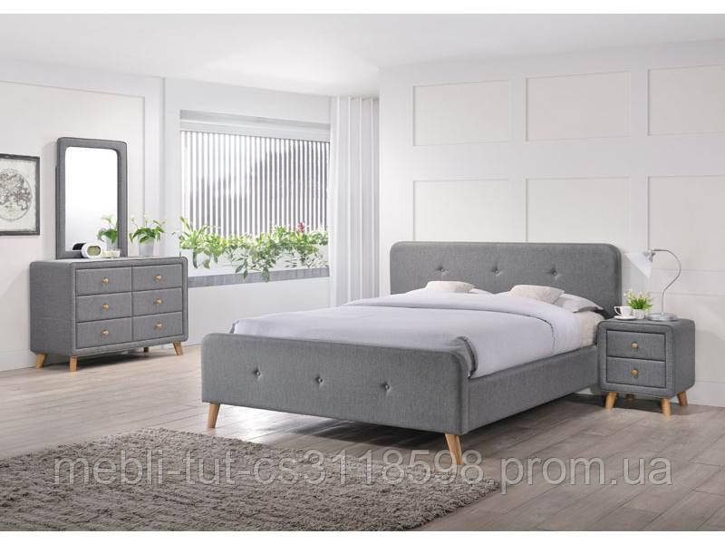 Кровать серая Malmo 140х200