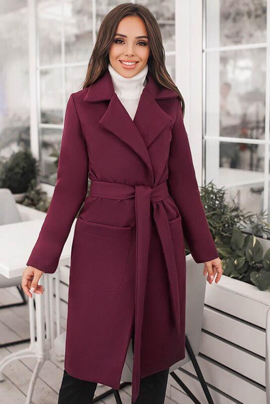 Пальто под пояс Сприн бордового цвета