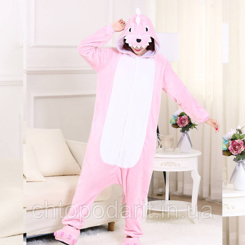 "Пижама Кигуруми взрослый ""Розовый дракон"" Код 10-3998"