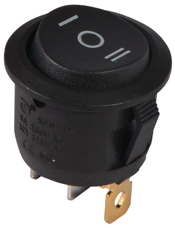 KCD1-5-103 B/B Переключатель 1 клавишный круглый перекидной (черный)