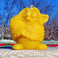 "Воскова свічка ""Сова з букетом квітів"" з 100% бджолиного воску; Восковая свеча ""Сова с букетом цветов"" из 100% пчелиного воска, фото 1"
