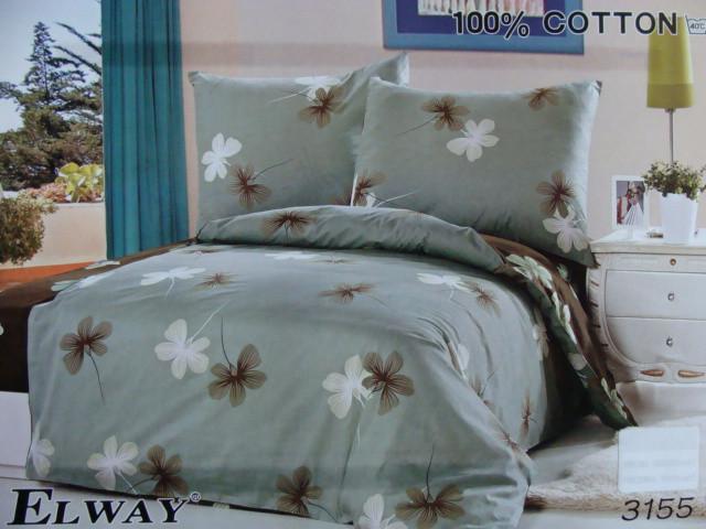 Сатиновое постельное белье полуторное  ELWAY 3155