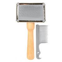 2353 Гребінець Trixie Тріксі щітка-пуходерка з дерев'яною ручкою 6 * 13 см