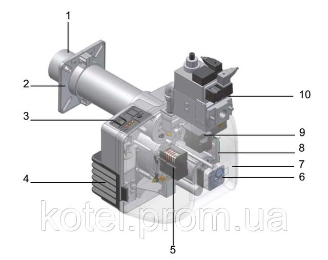 Схема конструкции газовой двухступенчатой горелки Unigas NG 200 AB