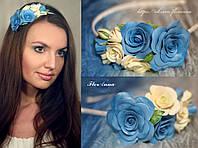 """""""Воздушный"""" обруч для волос с розами из полимерной глины , фото 1"""
