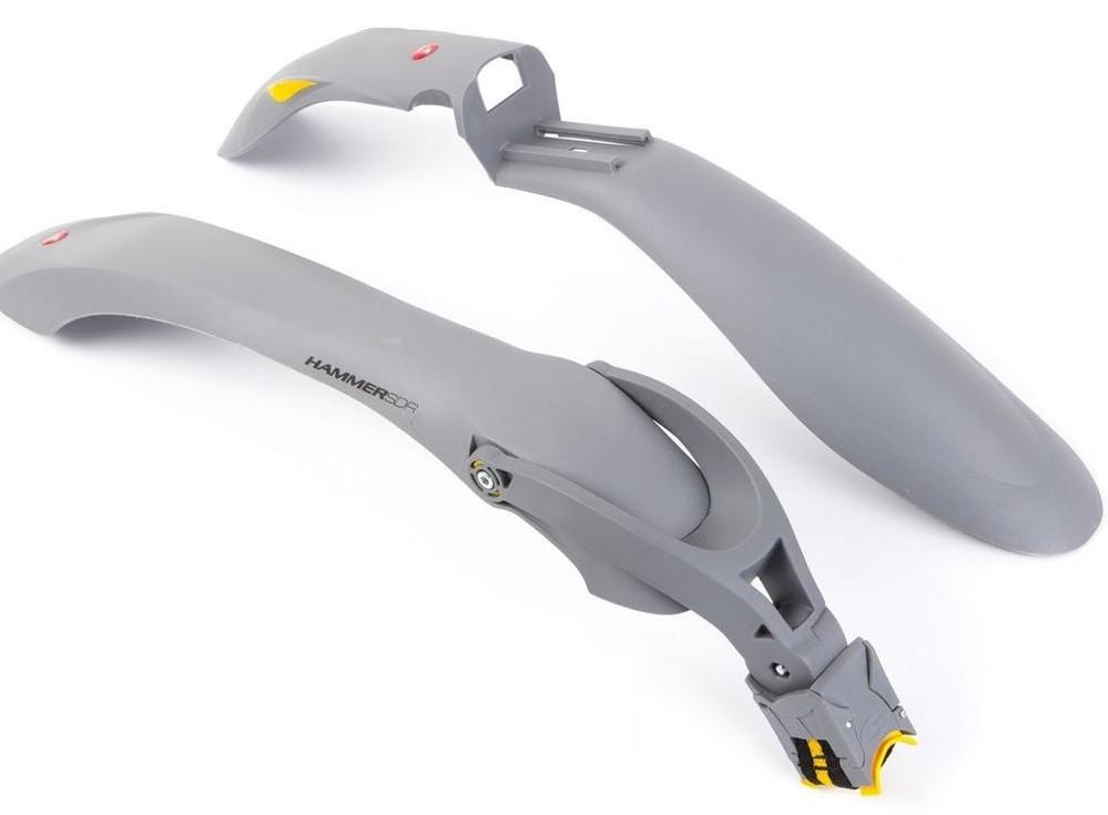 """Комплект крыльев 24""""-29"""" SIMPLA Hammer 2 SDE, SPEEDstrap быстросъемное крепление, серые с жёлтыми вставками"""