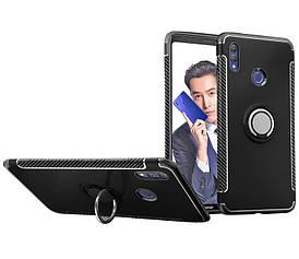 Чехол накладка для Huawei Honor Note 10 противоударный карбоновый с магнитным кольцом, черный