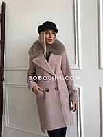Пальто в шоу руме Харьков с мехом песца Jennifer, фото 1