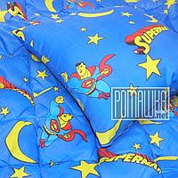 Набор детское одеяло 140х100 и подушка 50х50 новорожденному гипоаллергенное в кроватку демисезонное 4628 Синий