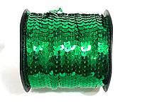 Пайетки метражные на нитке зеленая, 100м в рулоне