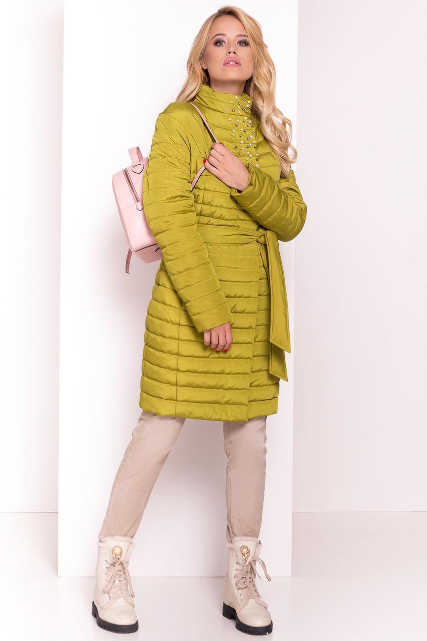 """Женская демисезонная удлиненная куртка """"БЛИСС 4520"""",оливка"""