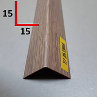 Декоративный ПВХ уголок 15х15, 2,7 м Дуб тёмный