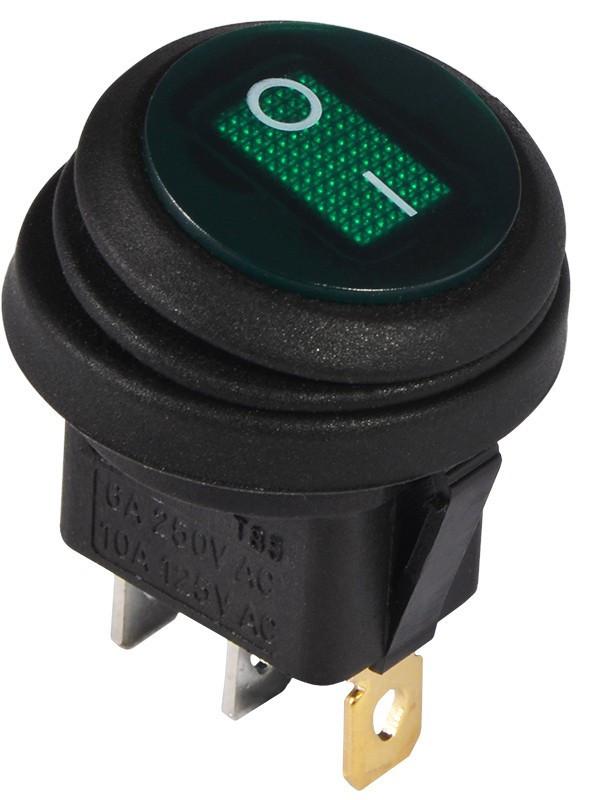 KCD1-8-101WN G/B 220V Переключатель 1 клавишный круглый влагозащищенный зеленый с подсветкой TNSy (TNSy5500754)