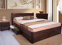 Двуспальная кровать с выдвижными ящиками для белья София V Олимп из натурального дерева бука