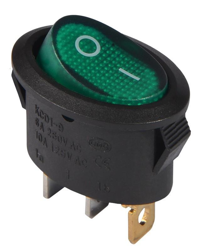 KCD1-9-101N G/B 220V Переключатель 1 клавишный овальный зеленый с подсветкой TNSy (TNSy5500755)