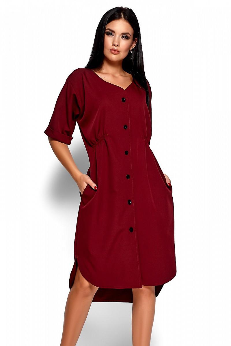 S, M, L / Повседневное ультрастильное платье Jazelin, марсала