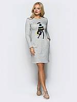 Утепленное платье с нашивкой Modniy Oazis светло-серый 90324, фото 1