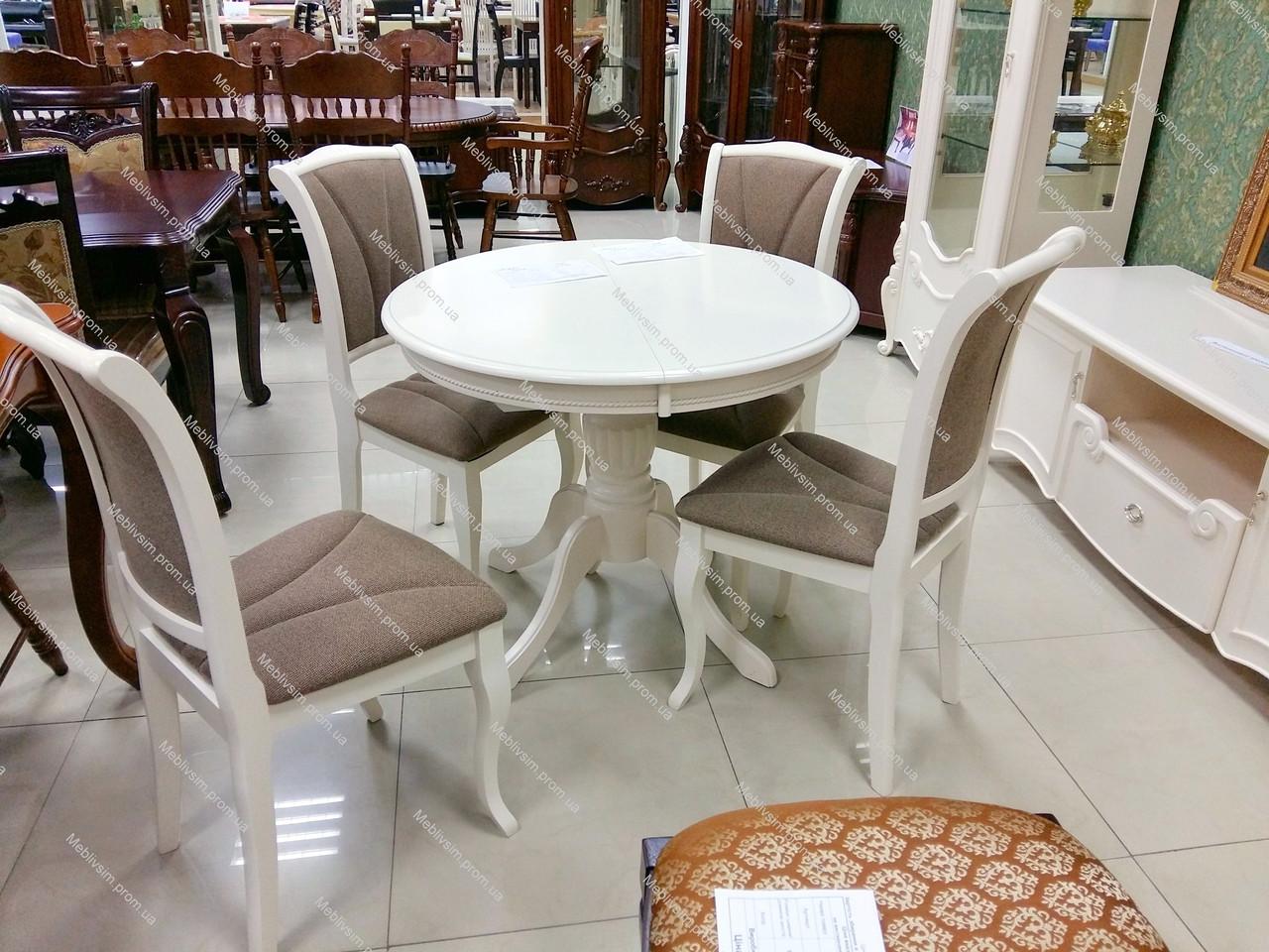 Стол обеденный круглый раскладной Olivia (Оливия) цвет белый, Малайзия