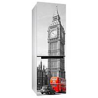 Интерьерная виниловая наклейка на холодильник Вид на Биг-Бен (пленка самоклеющаяся фотопечать, Лондон, Англия, автобус)