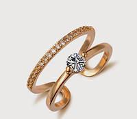 Позолоченное кольцо женское с цирконами р 17 код 634