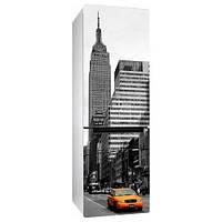 Интерьерная виниловая наклейка на холодильник Желтое такси (пленка самоклеющаяся фотопечать, города, страны, машина)