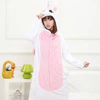 Пижама Кигуруми Единорог с розовыми крыльями микрофибра (велсофт)