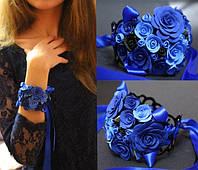 """Браслет синие розы из полимерной глины """"Элегантность"""""""