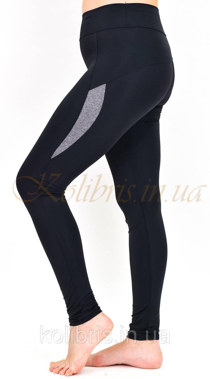 Женские спортивные лосины Батал черный меланж размеры от 50 до 56