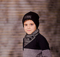 """Комплект деми двойная шапка и снуд на пуговицах для мальчика  """"Евсей"""", 44, 46, 48, 50, 52, 54,56"""