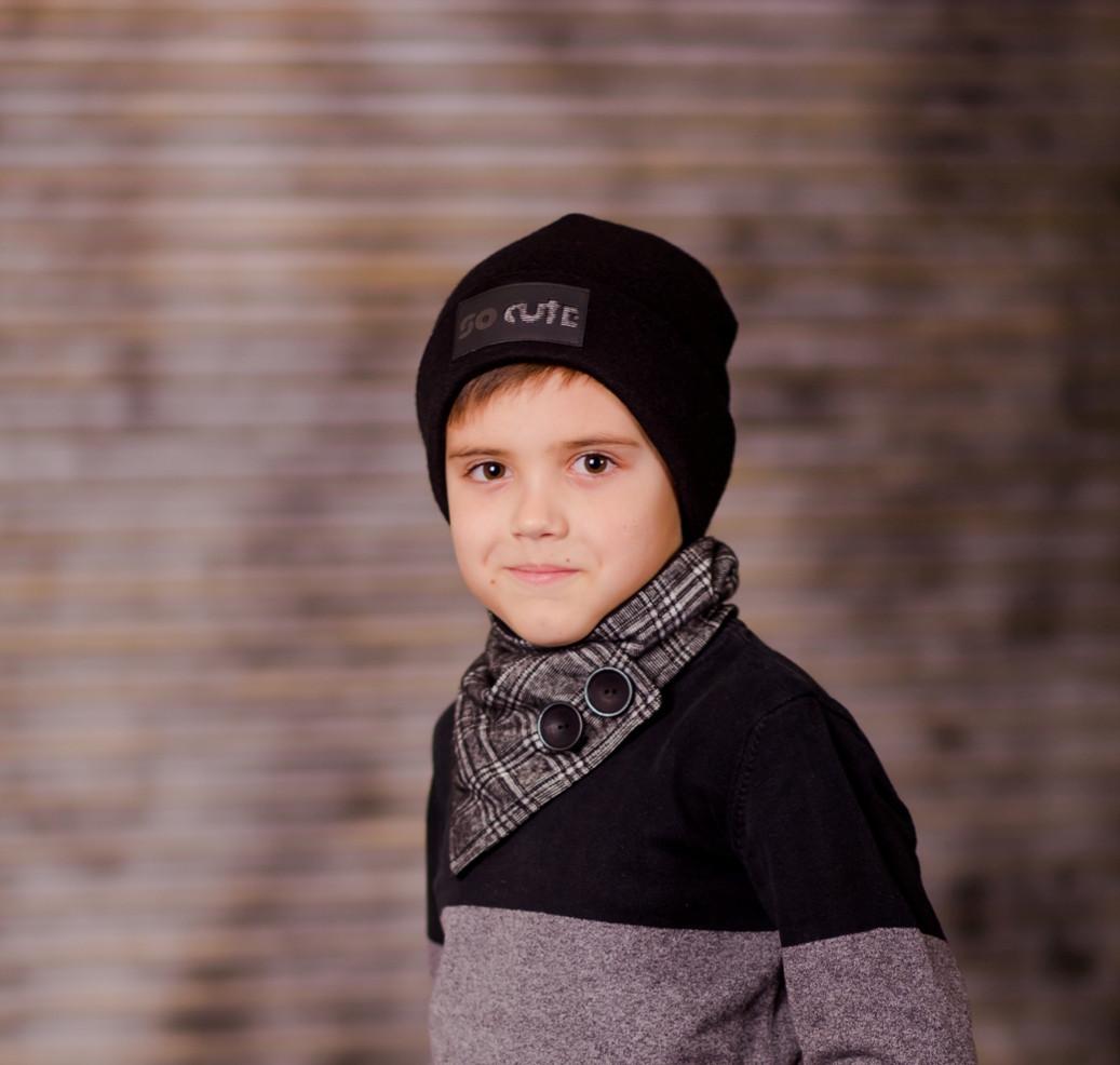 комплект двойная шапка и снуд на пуговицах для мальчика евсей