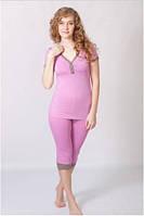 Пижама женская WIKTORIA (домашний комплект, футболка и бриджи, одежда для дома)
